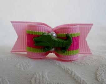 "5/8"" Dog Bow- Preppy Gator Lime Pink Dog Bow"