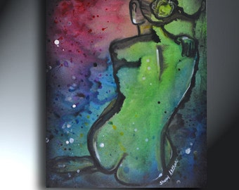 Nude Woman Abstract Painting Size 16 x 20 Multi Colored Nude Back Original Artwork
