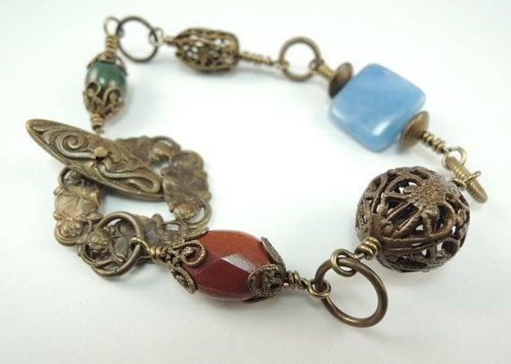 Brass and gemstone Bracelet