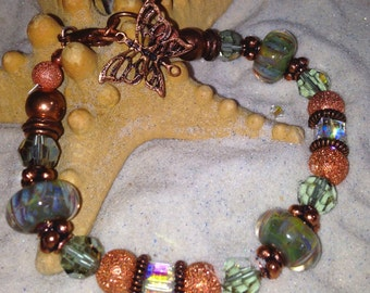 Copper and Boro Glass Bracelet
