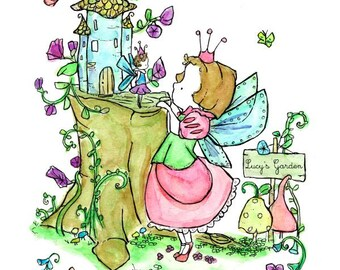 Children's Art -- Fairy Garden Customizable -- Art Print