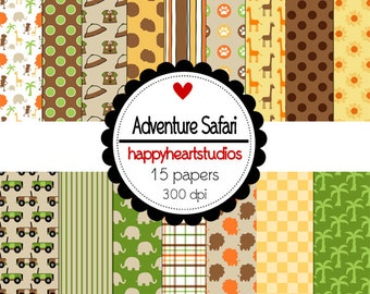 Digital Scrapbook  AdventureSafari-INSTANT DOWNLOAD