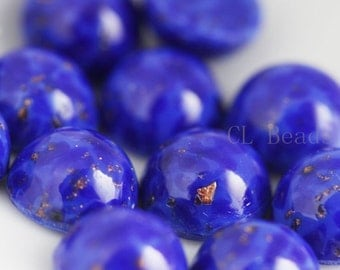 6 Pieces Preciosa Czech Glass Round Cabochons-Lapis Lazuli 9mm (168409LLAZ) (B-4-16)