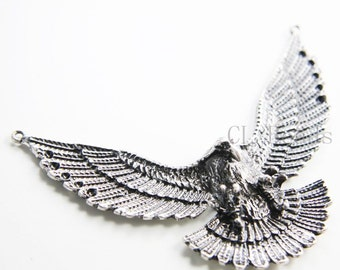1pcs Oxidized Silver Tone Base Metal Pendant  - Eagle 81x61mm (193C-Q-139)
