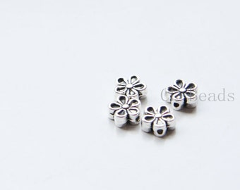 80pcs Oxidized Silver Tone Base Metal Spacers-Flower 7x3mm (476Y-P-290)