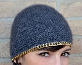 Coco hat, mohair wool and a gold chain as edge, skullcap, beanie, headpiece - Made to order
