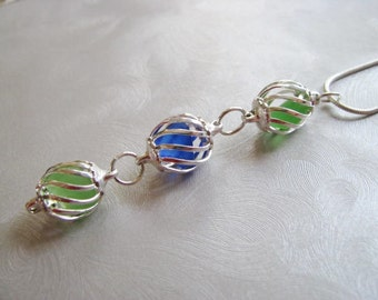 Sea Glass Necklace - Cobalt Blue and Kelly Green Pendant - Beach Glass Jewelry - Caged Sea Glass