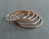 Thin Rose Gold Stackable Rings - Set of 5+ Rings - Super Slim - 14K Rose Gold Filled - Simple Modern Minimal Rings