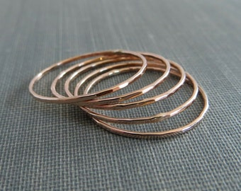 Thin Rose Gold Stackable Rings - Set of 5+ Rings - Super Slim - 14K Rose Gold Filled - Simple Modern Minimal Rings