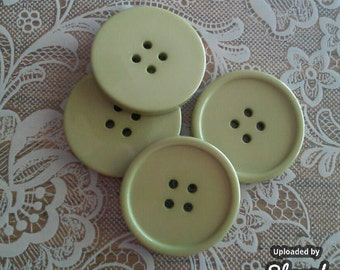 4 Extra Large Light Olive Green 1-1/2 Inch buttons 4 hole
