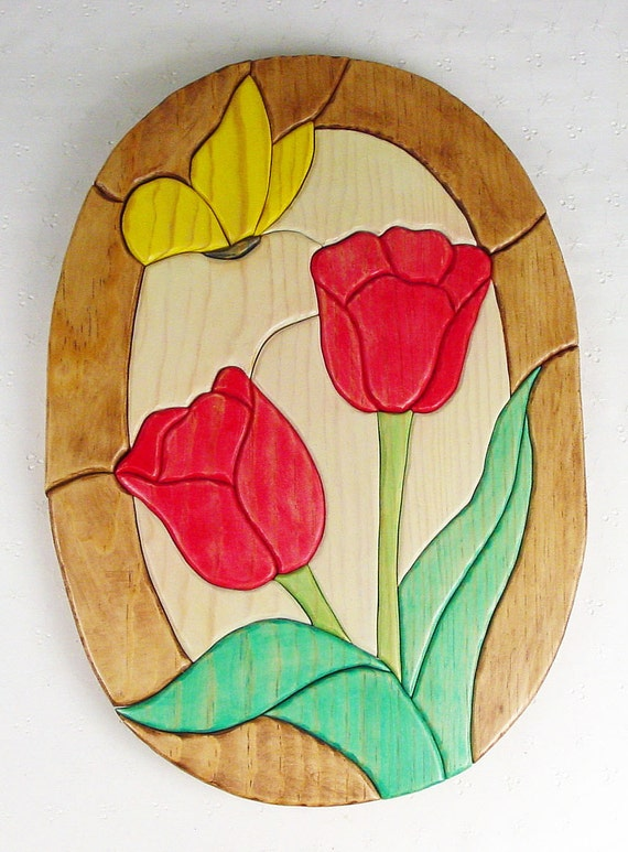 Handcrafted Wooden Intarsia Red Tulip Flower Yellow Butterfly Wall Art Plaque