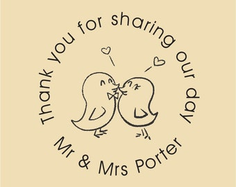 Love Birds Thank you for sharing our day Gift Bag Stamp WR012