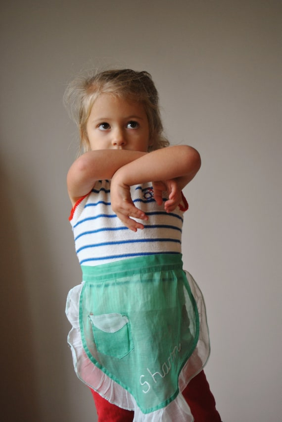 1940s Organza Sharon Apron, 18-24 months to 5T