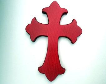 wood fleur de lis wall cross blood red