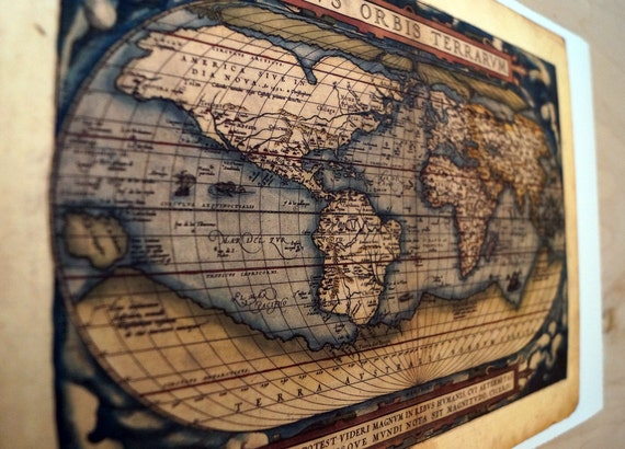 "World - Antique Map Print on Eco Bamboo paper with textured edge - Made in Canada! 11"" x 17"" 8.5 x 11"""