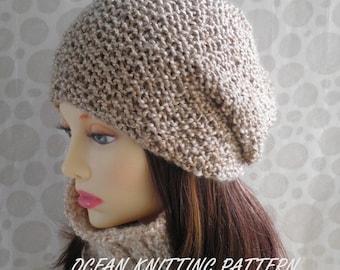 Knitting Pattern Womans Slouch Beanie Hat/ Wool-free yarn/Simple Beanie/Slouch Beanie Pattern/GirlsHat