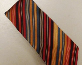Designer Cromwell & Stokes Neck TIE SILK Satin Stripes Colorful 1980s  Dead Stock  60 x 3  in