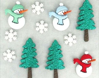 BUTTONS GLITTER Have a cool YULE Snowman Snow Pack of 11