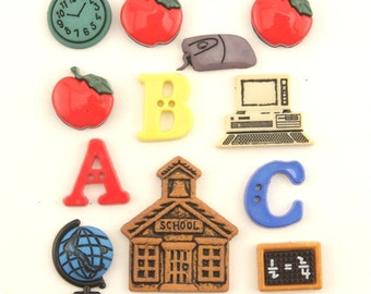BUTTONS BACK to SCHOOL Classroom A B C sewing buttons set of 12