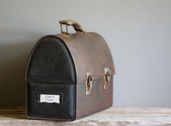 Vintage Metal Lunch Box With Dome Lid Storage By Susantique