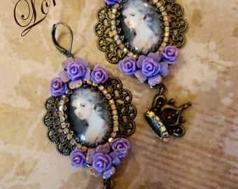 """Lilac  roses earrings """"Marie Antoinette"""""""