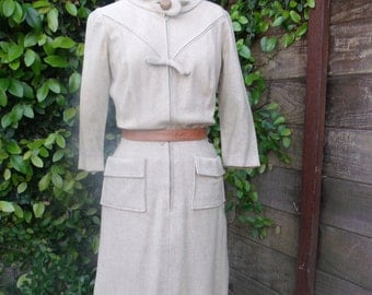 Vintage Cream Day Dress. Mad Men 60's Secretary Dress.