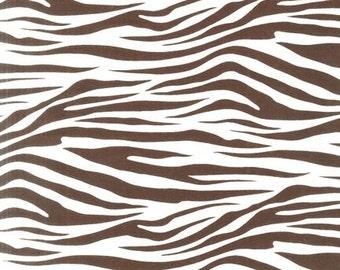 Zebra Print Fabric in Brown for Robert Kaufman - 1/2 Yard