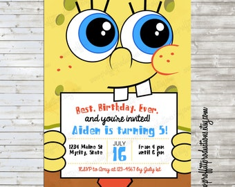 Modern Spongebob Birthday Party Invitation