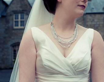 Pearl and Crystal Multi-Strand Bridal Necklace