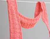Coral Pink Knit Scarf,  Long Scarf, Vegan Scarf, Soft Scarf , Ready to Ship