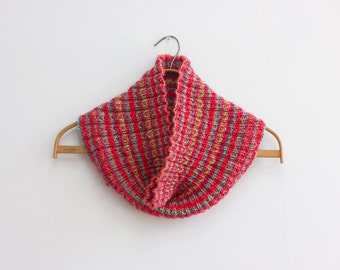 Hand Knit Cowl, Circle Scarf,  Ribbed Infinity Scarf, Striped Eternity Scarf, Vegan, Red, Blue, Multi Color, Ready to Ship