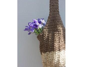 Cream and Brown Chunky Tote Market Bag, Market  Bag, Crocheted Color Block Bag,  Book Bag,  Beach Bag