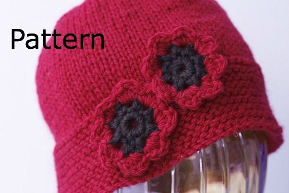 Knitting Pattern Red Poppy : Hat Knitting Pattern Red Poppy Knit Hat PDF Pattern