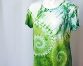 Whirlwind Shibori Tee in Lime, Kingfisher, and Emerald Green Organic Cotton and Bamboo Short Sleeves (extra large)