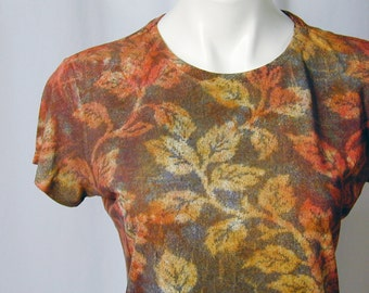 Autumn Vines in Tawny Gold, Persimmon, Sienna, and Black Hand Dyed Bamboo Tee (medium)