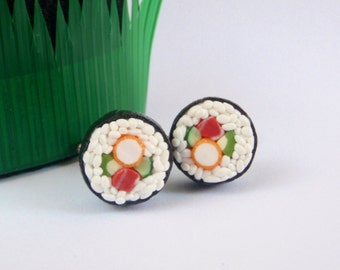 I Love Sushi Cufflinks - Miniature Food Art Jewelry Collectable - Schickie Mickie Original 100% handmade