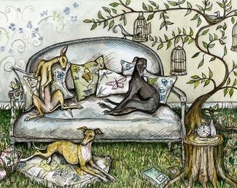 A Little Imagination - Italian Greyhound Art Dog Print