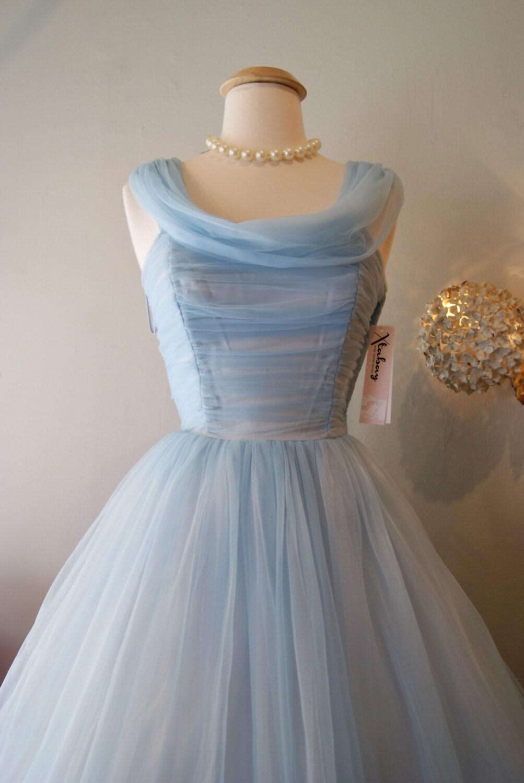 Vintage 1950's Dress // 50's Cinderella Blue by xtabayvintage