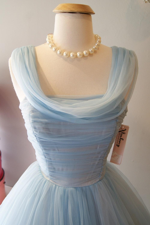Vintage 1950's Dress // 50's Cinderella Blue Party