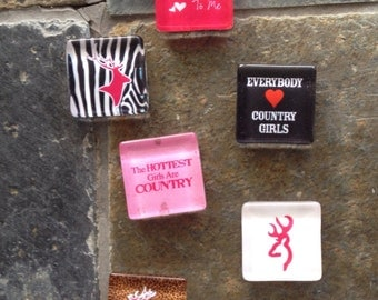 She's Country - square glass magnet set