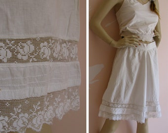 Antique Early 1900s Handmade Rose Lace and White Cotton Bloomers