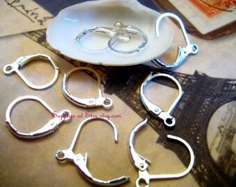 Special SALE  Silver plated brass leaver back earring hook earwire 17  x 10mm-Diy Earring making supplies