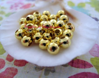 Best Deal  etsy 14k Gold filled Round Spacer Beads 3mm-14k gold fileed Fancy Smooth Spacer round beads/jewelry findings-Diy Jewelry Supplies
