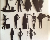 HALLOWEEN Character Sihouettes 4 inch tall die cuts of cardstock for banners, Smash Books, scrapbooking, journaling, place cards, etc.