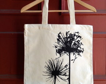 Agapanthus Organic Cotton Canvas Tote - Black on Cream