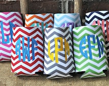 Chevron Monogram Can Insulator-Chevron Can Cooler-Personalized Can Cooler