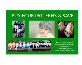 4 Instant Downloads - Buy Donegal Cap - Baby Ghillies - Figure Skates - Soccer Cleats - PDF Crochet Patterns and Save