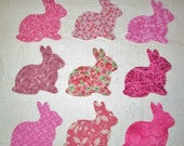 Set of 9 Pink Bunny Rabbit  Iron-On Sew-On Fabric Quilting Appliques   -Worldwide Shipping