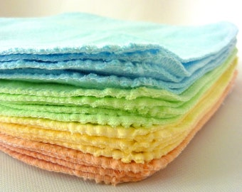 20 Cloth Wipes - Cloth Diaper Wipes - Soft Flannel Baby Wipes - Choose your Colors - Pastel -  double layer