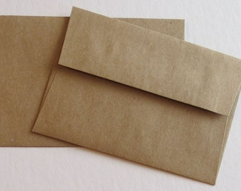 BBE1 Qty. 25 70# Square Flap Brown Bag Response Envelopes A1 5 1/8 x 3 5/8 (13.02cm x 9.21cm) Recycled